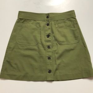 Madewell green button up skirt! Sz 6! NWT!!